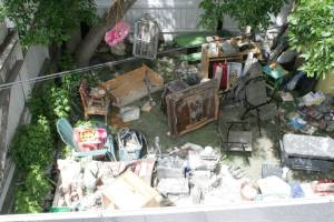 Using the backyard for insurance-claim items.