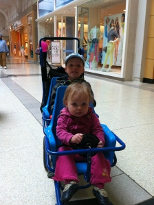 9.  Cruising through the Burlington Mall in one of the mall's double strollers.
