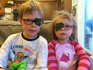 Matching bedhead and eye patches.